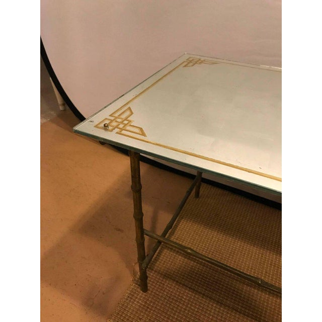 Hollywood Regency Bronze Based Eglomise Top Coffee Table - Image 5 of 10