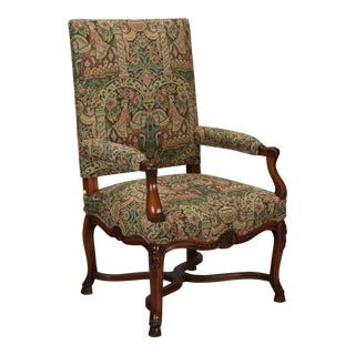 French 19th Century Bergere Covered In Old World-Style Tapestry For Sale