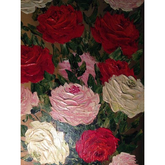 Mid-Century Roses in Brass Vase Still Life Painting - Image 7 of 11
