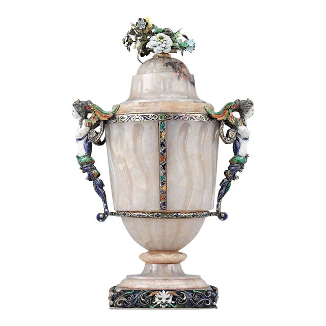 19th Century Viennese Agate and Enamel Covered Urn For Sale