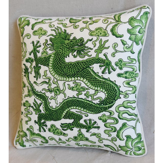 "Late 20th Century Italian Chinoiserie Scalamandre Dragon Feather/Down Pillow 19"" Square For Sale - Image 5 of 8"