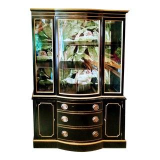 Vintage Dorothy Draper Style Black Gold Banana Leaf Glass Front China Display Breakfront Cabinet For Sale