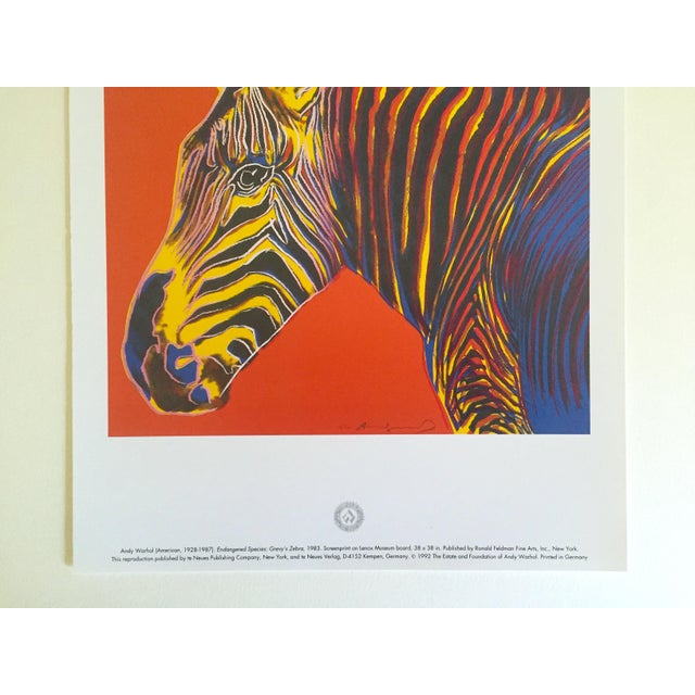 """Andy Warhol Andy Warhol Estate Rare Vintage 1992 Endangered Species Collector's Pop Art Lithograph Print """" Grevy's Zebra """" 1983 For Sale - Image 4 of 10"""