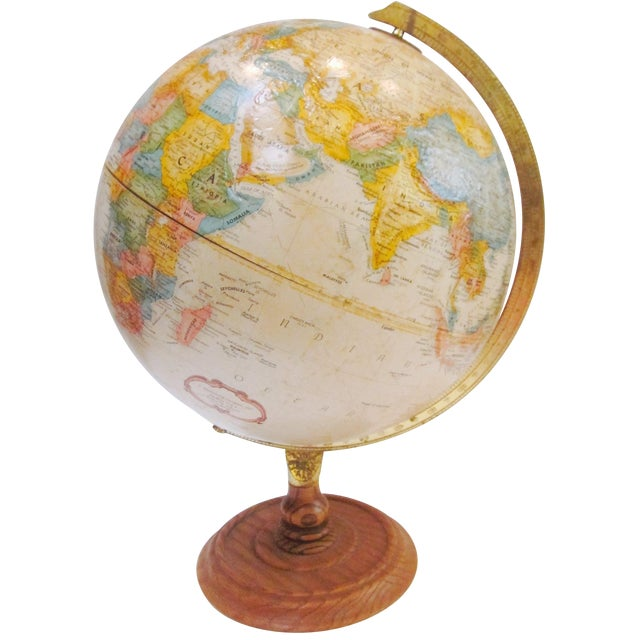 Vintage Old Fashioned Globe on Wood Base - Image 1 of 7