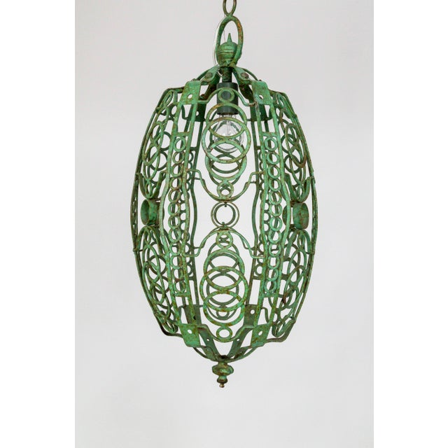 1920's Art Deco Green Oblong Cage Lantern With Circle Motif For Sale - Image 11 of 11