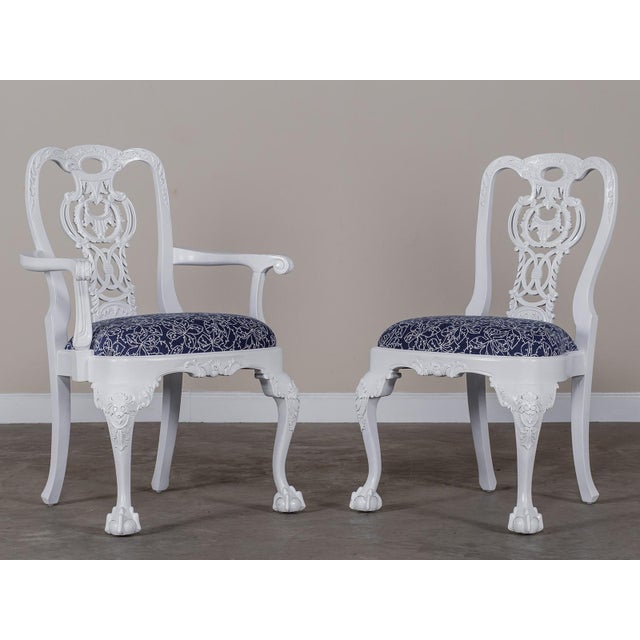 Chippendale George III Chippendale Style Painted Dining Chairs - Set of 8 For Sale - Image 3 of 10