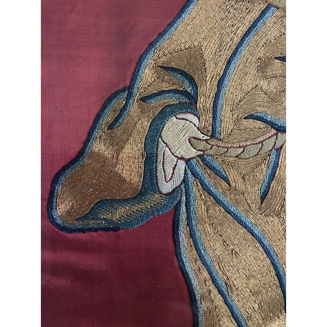 Early 20th Century Antique Chinese Embroidered Mythological Wall Hangings, Panels on Silk - a Pair For Sale - Image 5 of 9