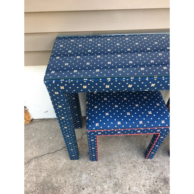1970s Mediterranean Blue Upholstered Parsons Table With Matching Benches - 3 Pieces For Sale - Image 10 of 12