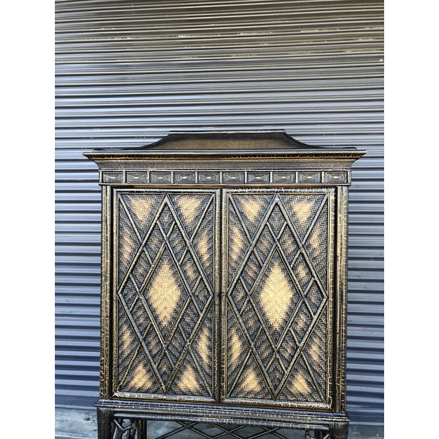 Chinoiserie Rattan Pagoda Style Tv Cabinet Armoire For Sale - Image 11 of 13