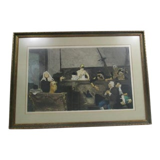 Antique Jehan Georges Vibert Etching French Celibrated Case Professionally Framed