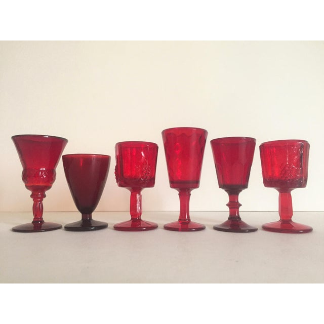 Vintage Mid-Century Ruby Red Wine Glasses - Set of 6 - Image 2 of 9