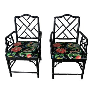 Black Bamboo Chairs- a Pair For Sale