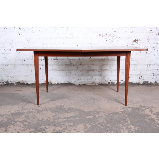 Brown Kipp Stewart for Calvin American Design Foundation Walnut and Rosewood Boat-Shaped Extension Dining Table For Sale - Image 8 of 13