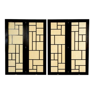 Mid-Century Modern 4-Panel Screen Room Divider For Sale