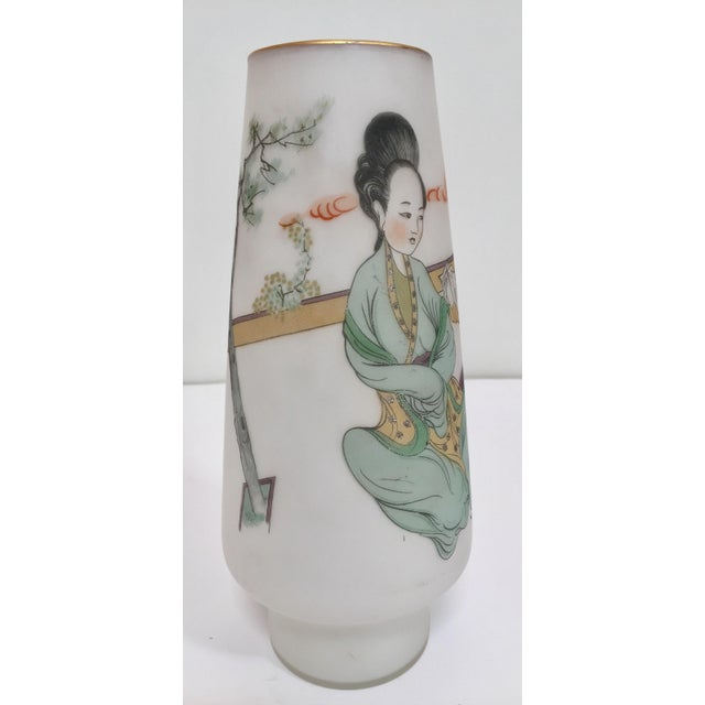 White Japanese Opaline White Glass Vase Hand Painted With Geishas For Sale - Image 8 of 11
