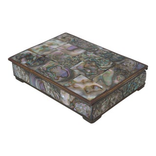 Mid-Century Modern Small Tessellated Abalone Box - 3 X 4 For Sale