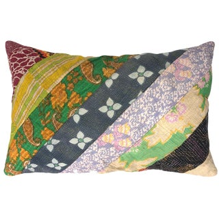 Bars of Color Patchwork Kantha Lumbar Pillow For Sale