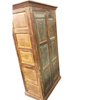 Antique Rustic Armoire Teak Wood Storage Cabinet Farmhouse Design Preview