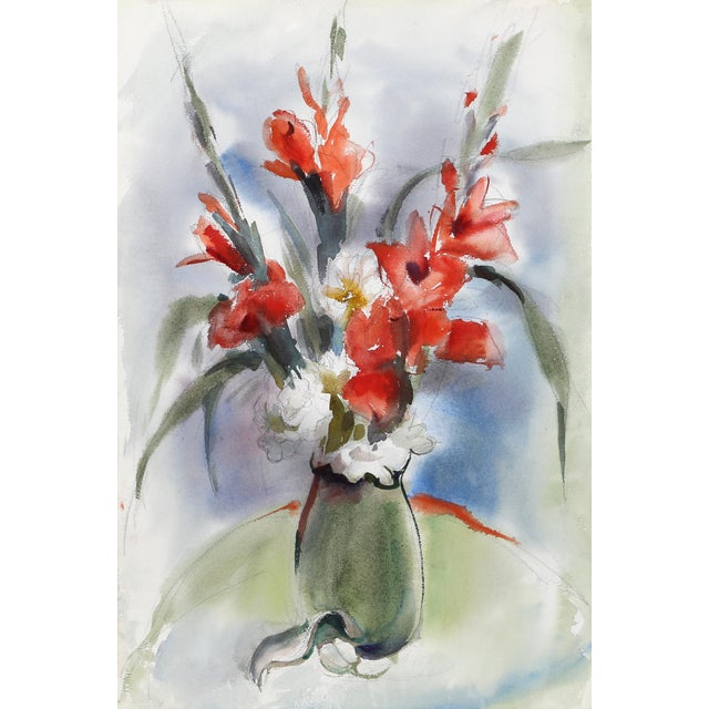 Eve Nethercott, Red Flowers in Vase (P1.9), Watercolor on Paper For Sale