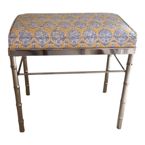 Vintage Petite Raoul Textile Fabric Upholstered Chrome Bench For Sale