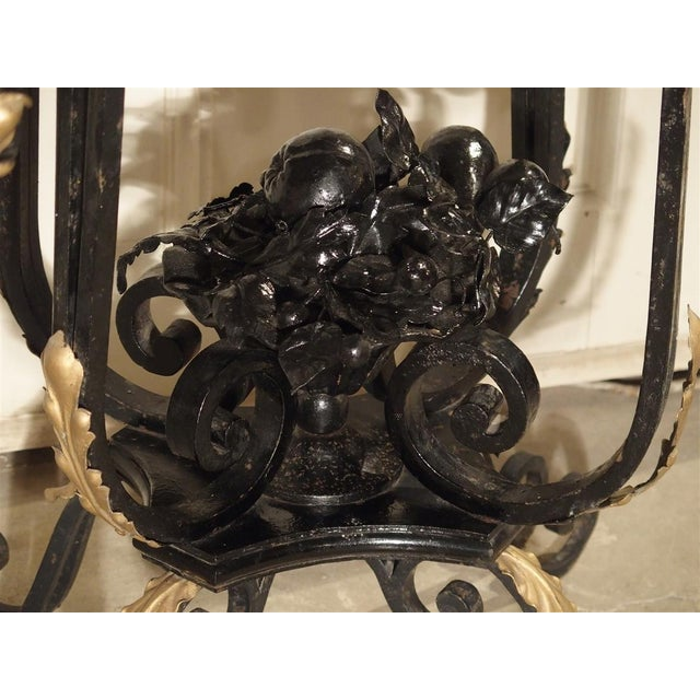 1920s 1920's French Forged Iron and Marble Console Table For Sale - Image 5 of 13