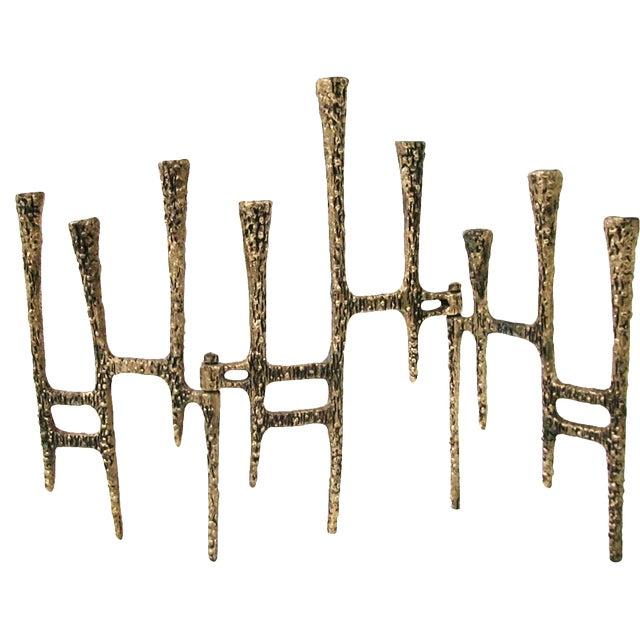 Brutalist Brass Trifold Menorah - Image 1 of 8