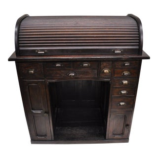 Antique Oak Watchmakers Jewelers Work Bench With Roll Top Desk For Sale