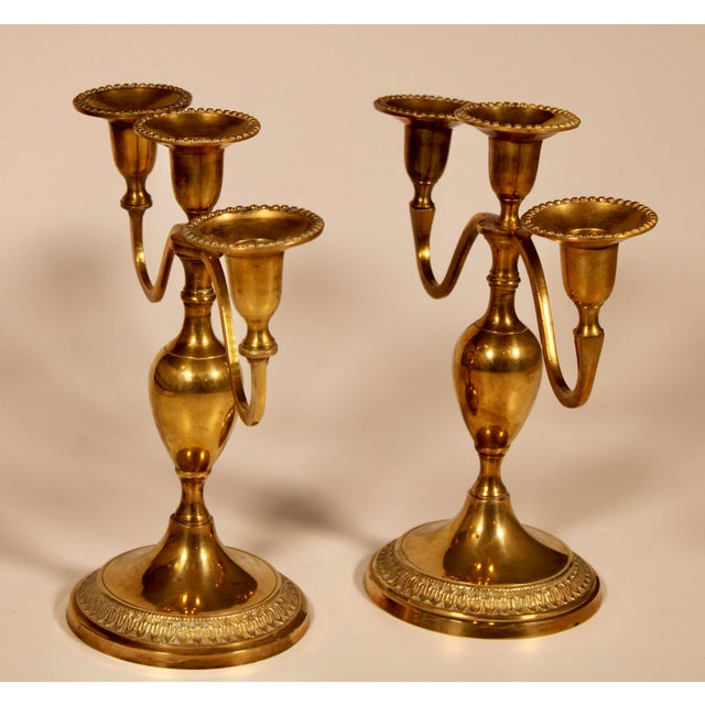 Vintage English Hollywood Regency Brass Candelabras - a Pair For Sale - Image 9 of 10