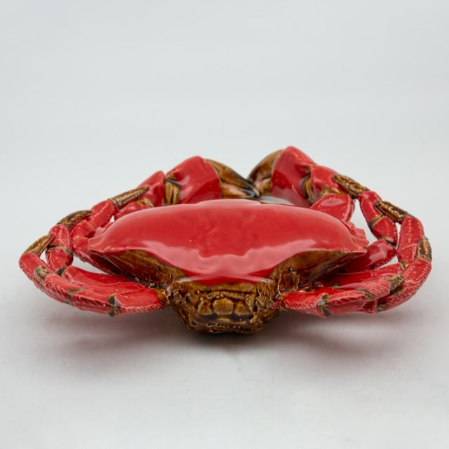 Portuguese Handmade Pallissy or Majollica Red Ceramic Crab For Sale In New York - Image 6 of 11