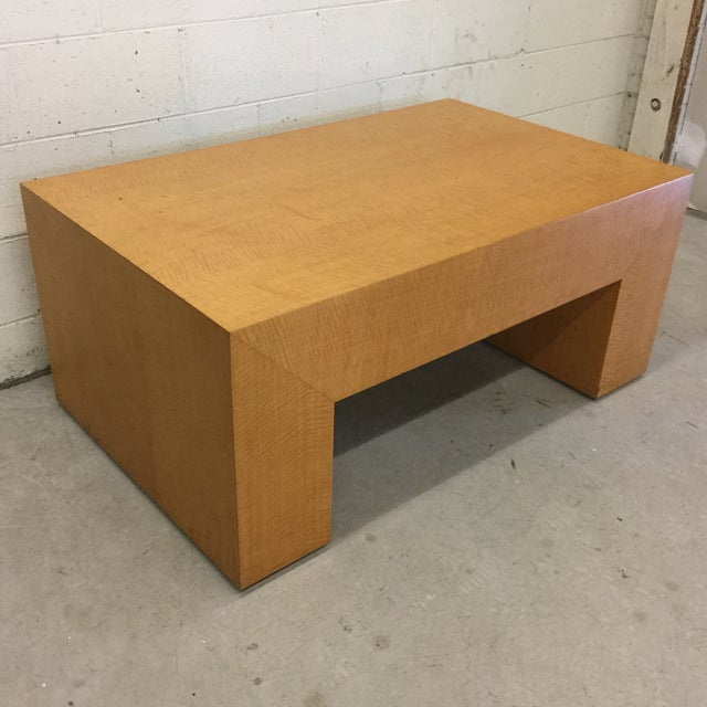 Contemporary Large Light Wood Rectangular Coffee Table For Sale - Image 3 of 11