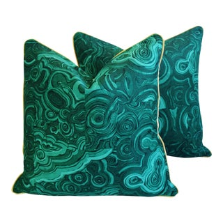 "24"" Tony Duquette-Style Jim Thompson Malachite Feather & Down Pillows - a Pair For Sale"