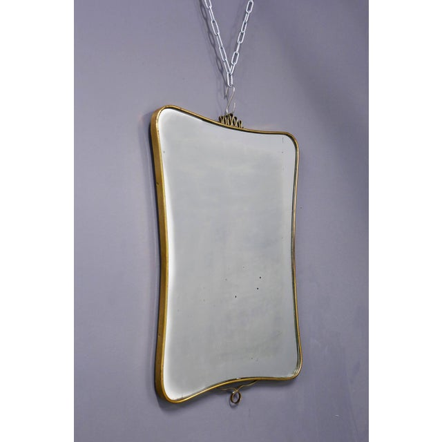 Metal Italian MidCentury Mirror Attributed to Gio Ponti in Brass, 1950s For Sale - Image 7 of 7