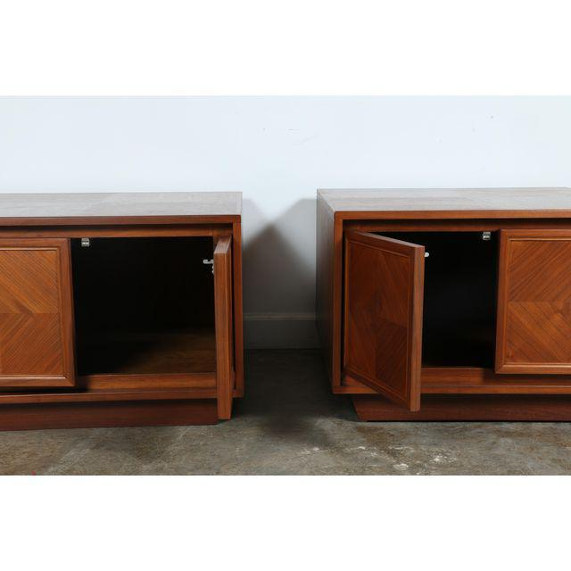 1960s Milo Baughman Style Walnut Chests - A Pair For Sale - Image 5 of 7