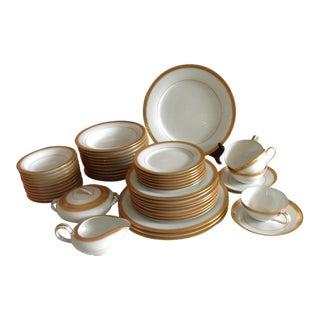 Noritake Gold-Rimmed White Porcelain Table Service - 60 Piece Set For Sale