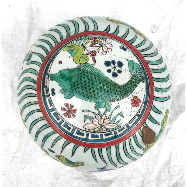 'Kangxi' Chinese Pink & White Lotus Flower Porcelain Ginger Jar With Green and Blue Fish For Sale - Image 10 of 10