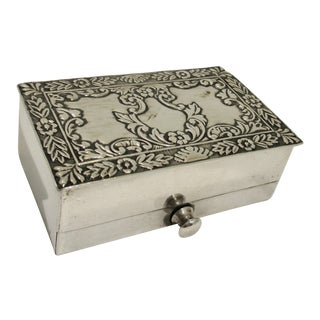 1910s Traditional Sterling Silver Match Box With Drawer For Sale
