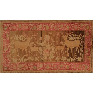 Antique Karabagh Pictorial Red and Gold-Brown Wool Rug - 4′8″ × 8′ For Sale