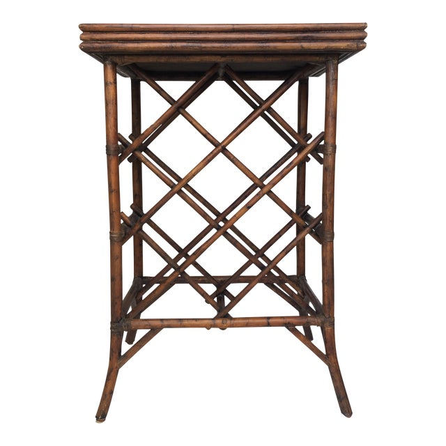 Bamboo Wine Rack & Tray Table For Sale