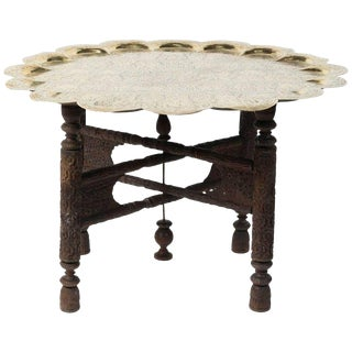Early 20th C. Anglo Indian Hammered Round Polished Brass Tray Table on Folding Stand For Sale