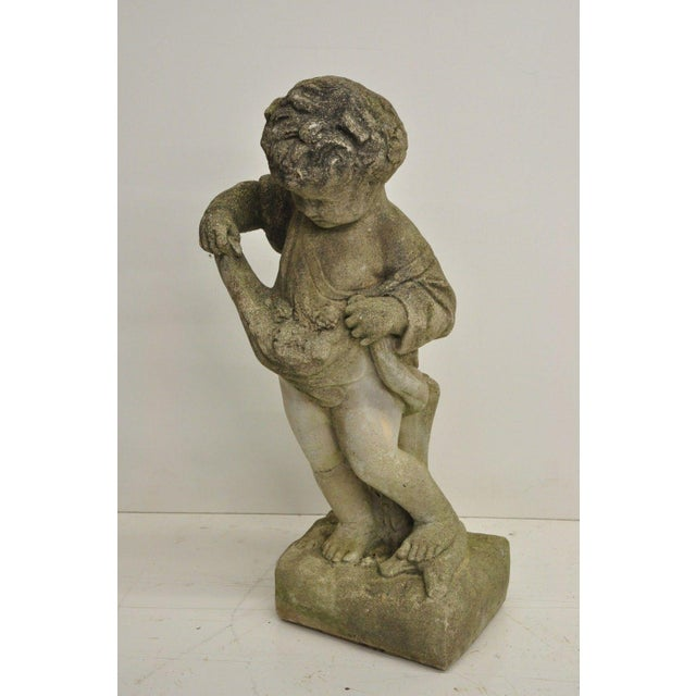 Concrete Pair of Concrete Four Seasons Style Baby Cherub Cement Garden Sculptures For Sale - Image 7 of 12
