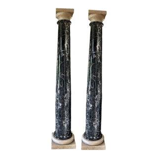 Nero Portoro Marble Columns For Sale