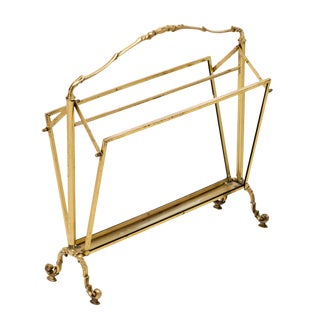 Vintage Art Deco Period Brass Magazine Stand For Sale