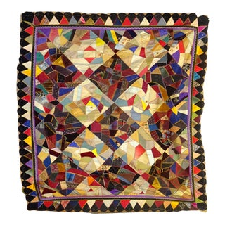 Victorian Era Bright Crazy Quilt For Sale