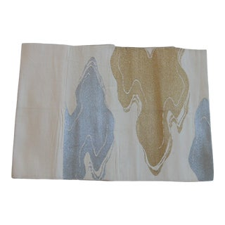 Obi Vintage Textile With Tan and Gold Clouds For Sale