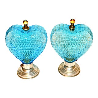 Blue Glass Heart Lamps, 1940s - A Pair
