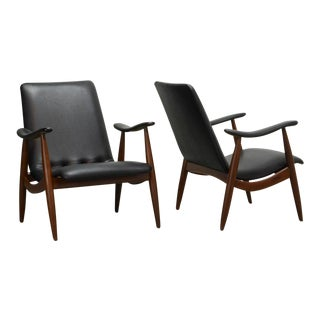Mid-Century Pair of Dutch Design Teak and Black Leatherette Lounge Chairs by Louis Van Teeffelen for Webe, 1960s