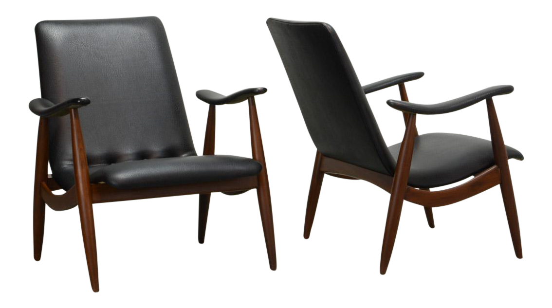 Mid Century Pair Of Dutch Design Teak And Black Leatherette Lounge Chairs  By Louis Van