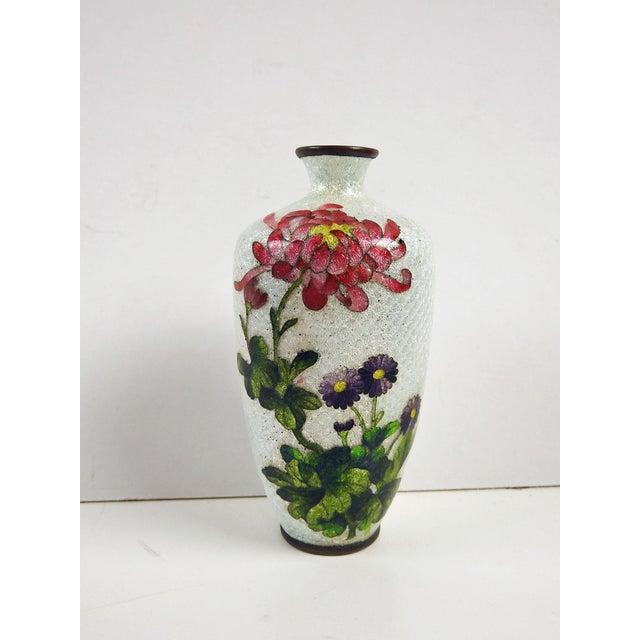Japanese Ginbari Cloisonne Chrysanthemum Vase - Image 2 of 5