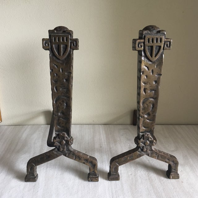 1930's Vintage Gothic Fireplace Andirons - a Pair - Image 4 of 5