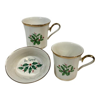 Vintage Lenox Dimension Holly Christmas Pattern China Mugs / Dish - Set of 3 For Sale